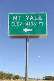Sign Pointing to Mount Yale, Colorado 14er in the Rocky Mountains Stock Image