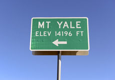 Sign Pointing to Mount Yale, Colorado 14er in the Rocky Mountains Stock Photography