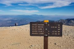 Trail sign on summit of Mt. Baldy near Los Angeles. A sign points to the different trails that lead to the top of Mt. Baldy, the tallest peak in Los Angeles Stock Photos