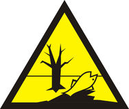 Sign of poisonous in yellow triangle. Harmful chemicals. Dead fi Royalty Free Stock Photography