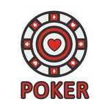 Sign of poker red and white chip flat design. Vector Royalty Free Stock Photos