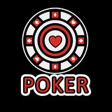 Sign of poker red and white chip flat design. Vector illustration Royalty Free Stock Photography