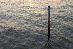 Sign Pole sticking out of The River. Royalty Free Stock Photos