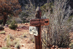 Sign post. Backpacking singpost in Grand Canyon Royalty Free Stock Photography