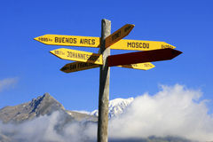 Sign post. Sign with arrows pointing to the famous city in the world stock images