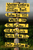 Sign post along Alaska pipeline Royalty Free Stock Photos