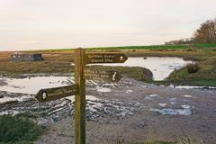 Sign post. At the top of Burnham Deepdale marsh pointing the way to Brancaster Staithe, Burham Overy Staithe and amenities royalty free stock photos