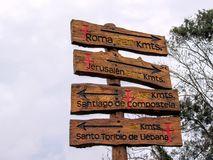 Sign post in Comillas, Cantabria, Camino del Norte, the Northern Way of Saint James in Spain stock images