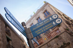 Sign post with directions in the center of Barcelona. Spain Stock Photography