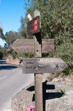 Sign post by the Drystone route Stock Photo