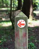 Sign post in forest. Sign post in Hillsborough forest park. Torah the way to go royalty free stock image