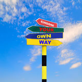 Sign post with four arrows stock photography