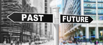 Sign post future past. Past the future futuristic changing form the way forward sign royalty free stock photo