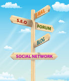 Sign Post Internet Marketing Stock Photos