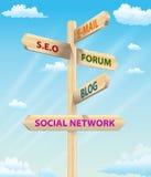 Sign Post Internet Marketing Stock Photos