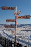 Sign post in Kangerlussuaq Stock Photos