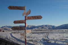 Sign post in Kangerlussuaq, Greenland Royalty Free Stock Photo