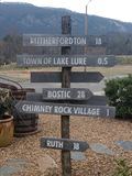 Sign post Lake Lure Welcome Center royalty free stock images