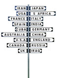 Sign Post with a large group of destinations royalty free stock images