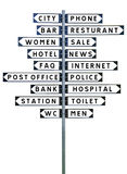 Sign Post with a large group of directions Stock Photo