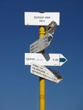 Sign post near Castle of Cachtice Royalty Free Stock Image
