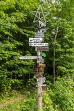 Sign post showing distances to other states in Maine Stock Photography