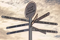 Sign Post, St. Clair, Dunedin, New Zealand Stock Photo