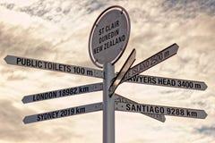 Sign Post, St. Clair, Dunedin, New Zealand Stock Photo