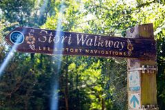 Sign post on the Stortwalkway by the River Stort. A sign under a sunlit tree canopy showing the route of the Stort Walkway in Sawbridgeworth, Hertfordshire. This stock photos