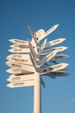 Sign post to cities. Direction sign to cities of the world showing distance Royalty Free Stock Images