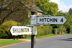 Sign post to Hitchin and Shillington Stock Images