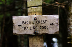 Sign post for trail 2000 Pacific Crest Trail. In the Mt Hood National Forest Royalty Free Stock Images