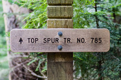 Sign post for trail 785 Top Spur Trail Royalty Free Stock Images