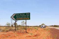 Signpost of an unsealed road to Alice Springs, Australia. Sign post of an unsealed road (Ernest Giles Road) to Alice Springs and the Stuart Highway, Northern Stock Images