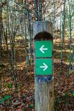 Sign post in the woods Stock Image