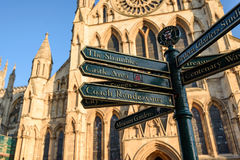 Sign post York England. The directional sign post in front of York Minster in York England Stock Images