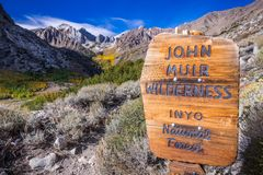 Sign posted at the entrance to the John Muir Wilderness, Eastern. Sign posted at the entrance to the John Muir Wilderness, in the Inyo National Forest; Eastern stock image