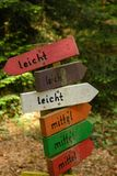 Difficulty levels in german. Sign posting differnt degrees of difficulty in parcours Stock Photos