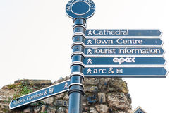 Sign posts to places in Bury St Edmunds. Sign post directing to places in Suffolk, England Royalty Free Stock Image