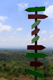 Sign posts on top view Royalty Free Stock Photography