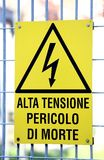 Sign with potentially fatal HIGH VOLTAGE in an industrial site Stock Image