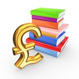 Sign of pound sterling and colorful books. Royalty Free Stock Images