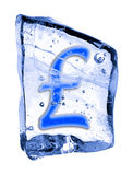 Sign pound sterling frozen in the ice Stock Photography