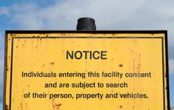 Sign at the power station. Sign at the entrance of the road to the power substation royalty free stock photos