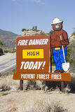 Sign Of Preventing Forest From Fire. On roadside Stock Photos