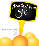A sign at the price tag. Vector sign at the price tag for the market and store with orange royalty free illustration