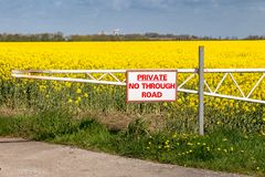 Sign: Private no through road. Seen near Cherry Cobb Sands Clough, East Riding of Yorkshire, UK Stock Images