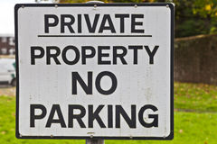 Sign: Private Property No Parking Stock Image