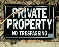 Sign private property no trespassing Stock Photography
