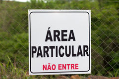 Sign of private property in portuguese Royalty Free Stock Images